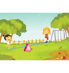 Kids on a seesaw vector image