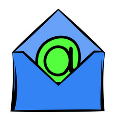 Open envelope with e-mail sign icon icon cartoon vector