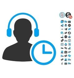 Operator time icon with free bonus vector