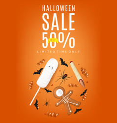 Orange flyer with treats for halloween sale vector