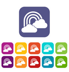 Rainbow and clouds icons set vector