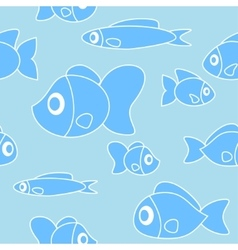 Seamless pattern with fish in cartoon style vector image vector image