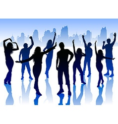 Silhouettes of People Dancing in the City vector image vector image