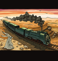 Steam locomotive and rabbit vector
