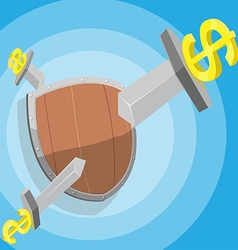Sword Dollar Attack Shield Protect vector image vector image