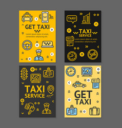 Taxi line service flyer banner posters card set vector