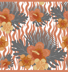 tropical flowers plants leaves and animal skin vector image