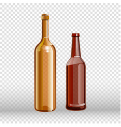 Two empty bottles of wine and beer isolated on vector