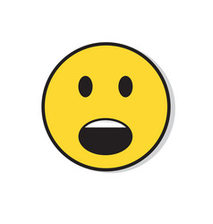 yellow sad face shocked negative people emotion vector image vector image