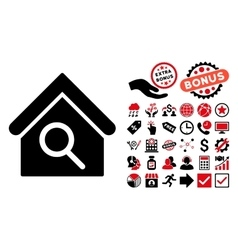 Find building flat icon with bonus vector