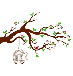 Tree branch with bird cage and beautiful birds vector
