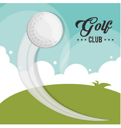golf club ball flying field vector image