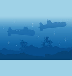 Silhouette of submarine on the sea landscape vector