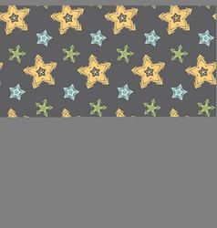 big hand drawn stars seamless pattern vector image