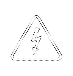 High voltage danger sign  black dotted vector