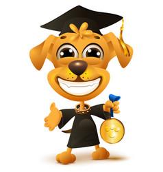 Dog school graduation yellow puppy in black robe vector