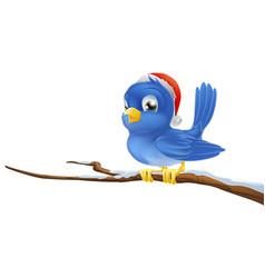 bluebird in christmas hat vector image
