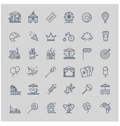 Thin line set - amusement park icons vector