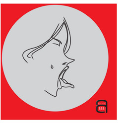 Woman showing tongue or licking something vector
