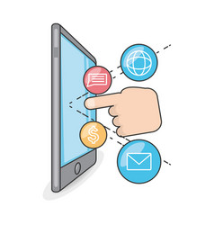 Technology smartphone with touch screen apps vector