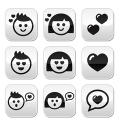 Man and woman in love Valentines buttons set vector image