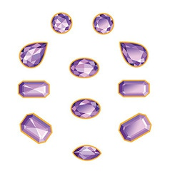 Amethyst set isolated objects vector