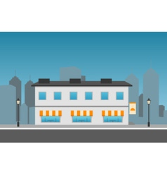 Dark cityscape with restaurant vector