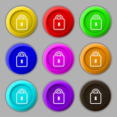 Lock icon sign symbol on nine round colourful vector