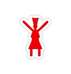 Icon sticker realistic design on paper dance vector