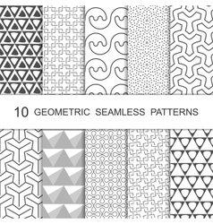 Seamless geometric pattern set ten tiled vector