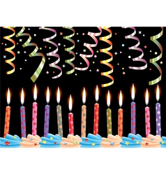 Birthday candles and streamers vector