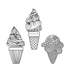 Set of delicious ice-creams doodle style different vector
