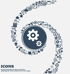Gears icon in the center around the many beautiful vector