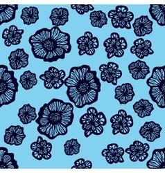 Blue and dark blue seamless flower pattern vector