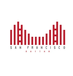 Golden gate of san francisco rhythm style vector