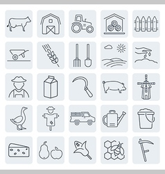 agriculture and farming icons set vector image vector image