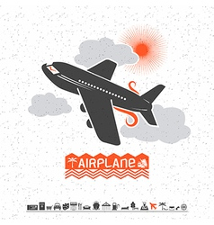 Airplane in the clouds and travel icons vector