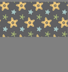 big hand drawn stars seamless pattern vector image vector image