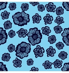 Blue and dark blue seamless flower pattern vector image vector image