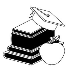 Book graduation cap and apple design vector