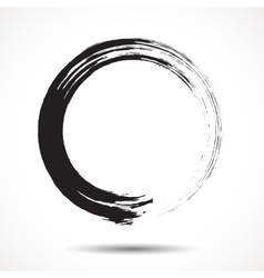 Brush painted black ink circle vector image
