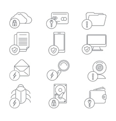 Business network security and data protection line vector image vector image