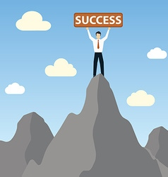 Businessman standing on peak mountain with success vector image
