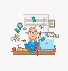 businesswoman working and analyzing financial vector image vector image