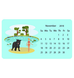 calendar 2018 for november vector image