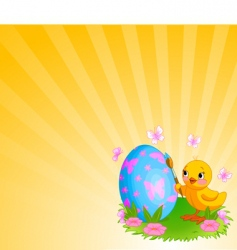 Chicken painting easter egg background vector