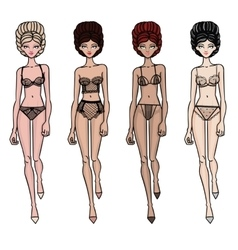Collection of lingerie Panty and bra set vector image