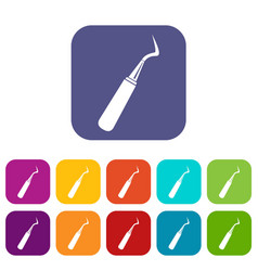 dental probe icons set flat vector image vector image