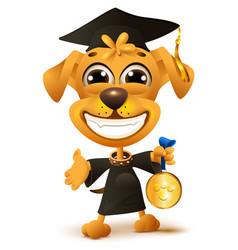 Dog school graduation yellow puppy in black robe vector