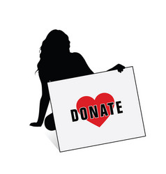 Donate card with girl silhouette vector